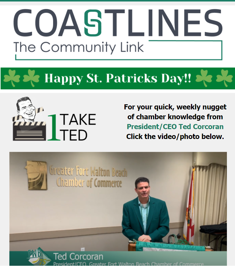 Image of Coastlines email for March 17, 2021 for the Greater Fort Walton Beach Chamber