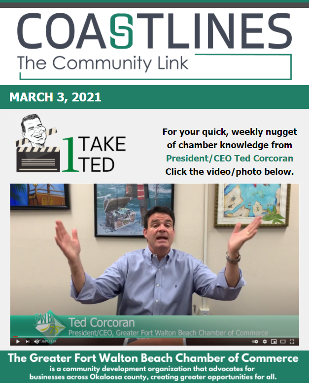 Image of Coastlines email for March 3, 2021 for the Greater Fort Walton Beach Chamber