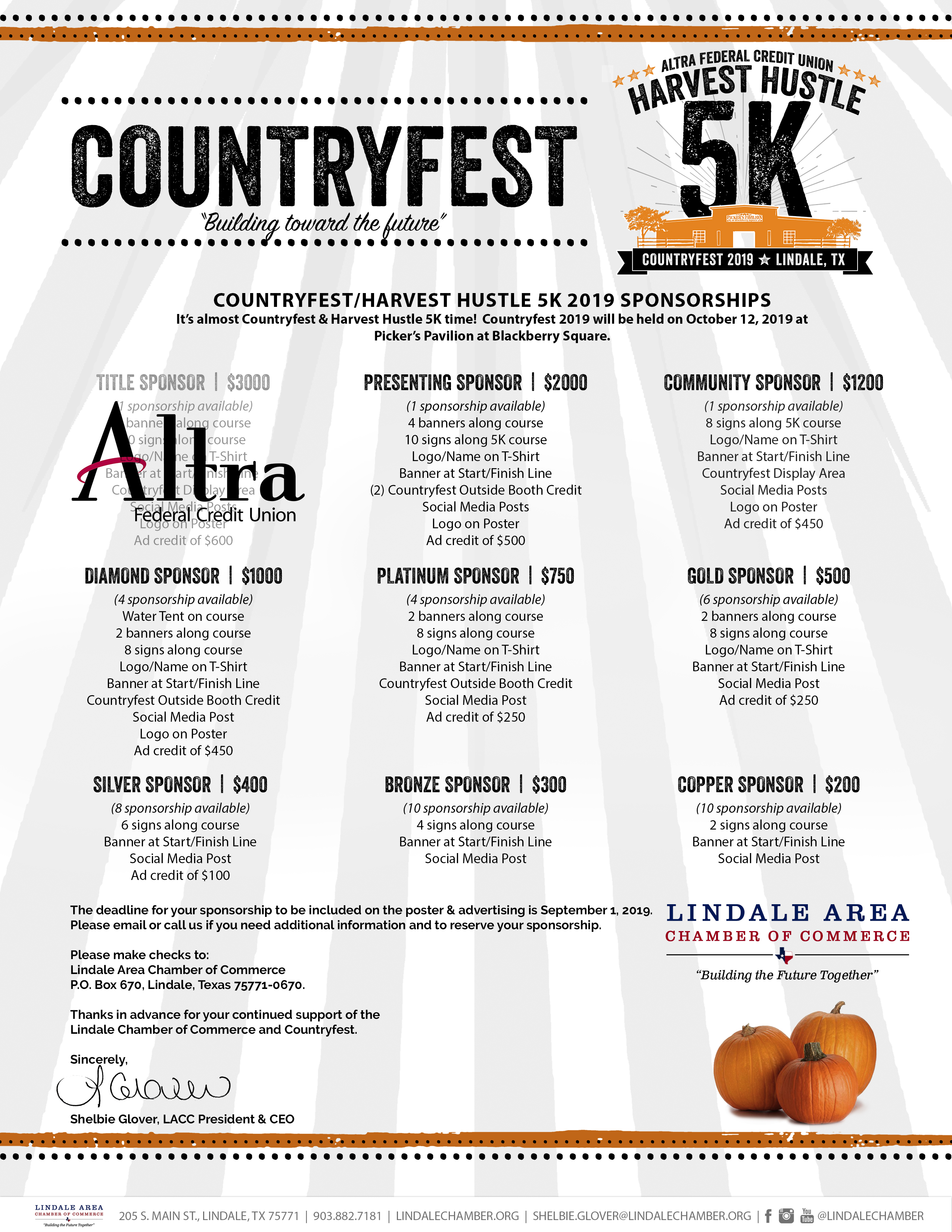 Harvest Hustle 5K 2019 - Oct 12, 2019 - Lindale Area Chamber