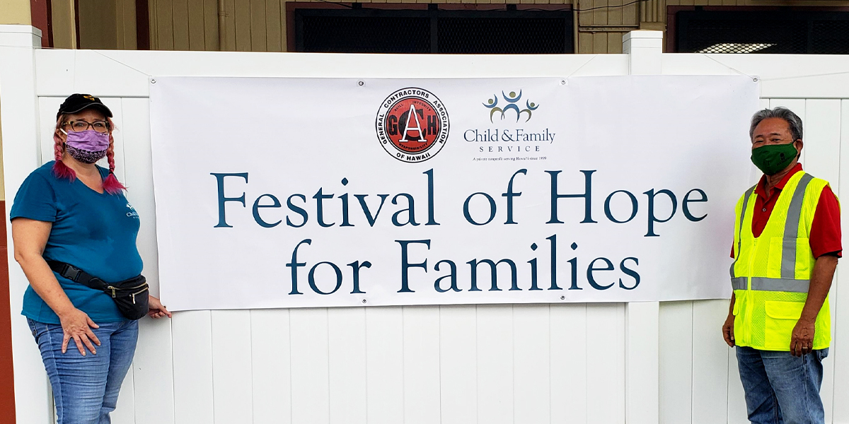 Festival of Hope for Families Event on Hawai'i Island: (L to R) Chris Terry (CFS Director of East Hawai'i Island Programs) & Leslie Isemoto (2020 GCA President)