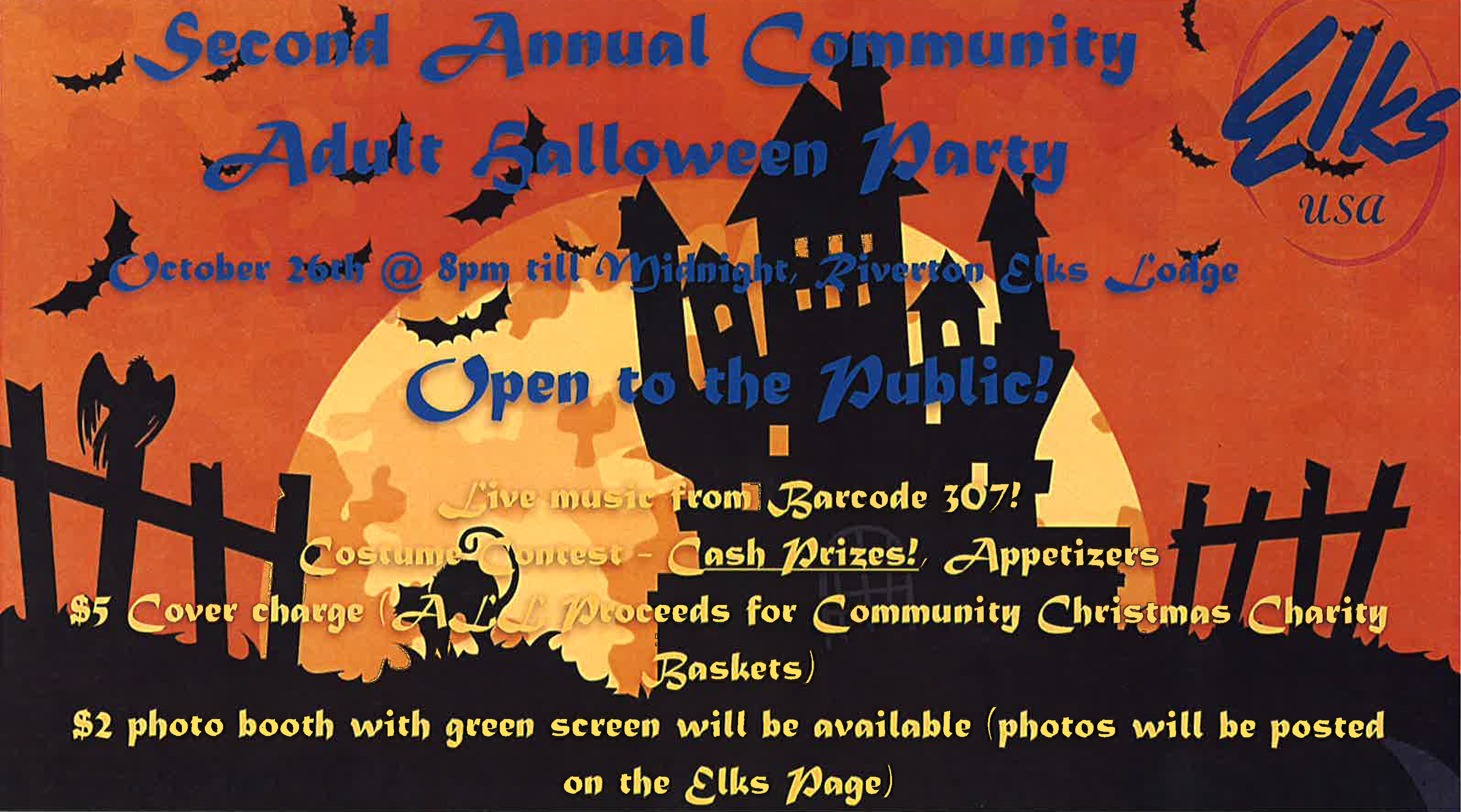 elks community adult halloween party - oct 26, 2018 - riverton