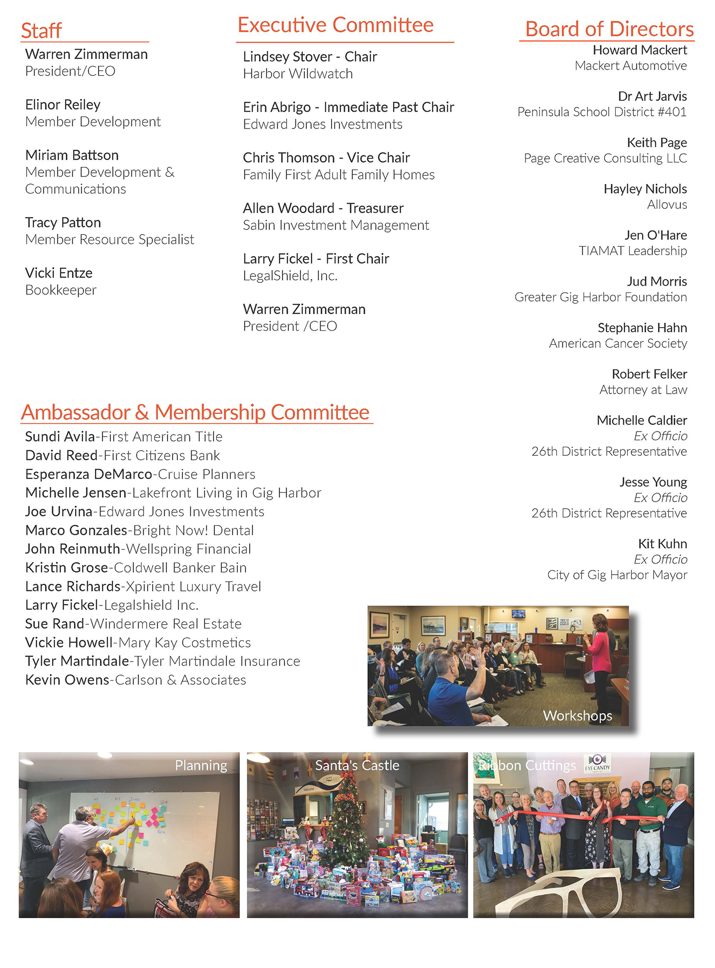 2019 Annual Report, Board of Directors, Staff, Ambassadors, and GHYP Executive Committee