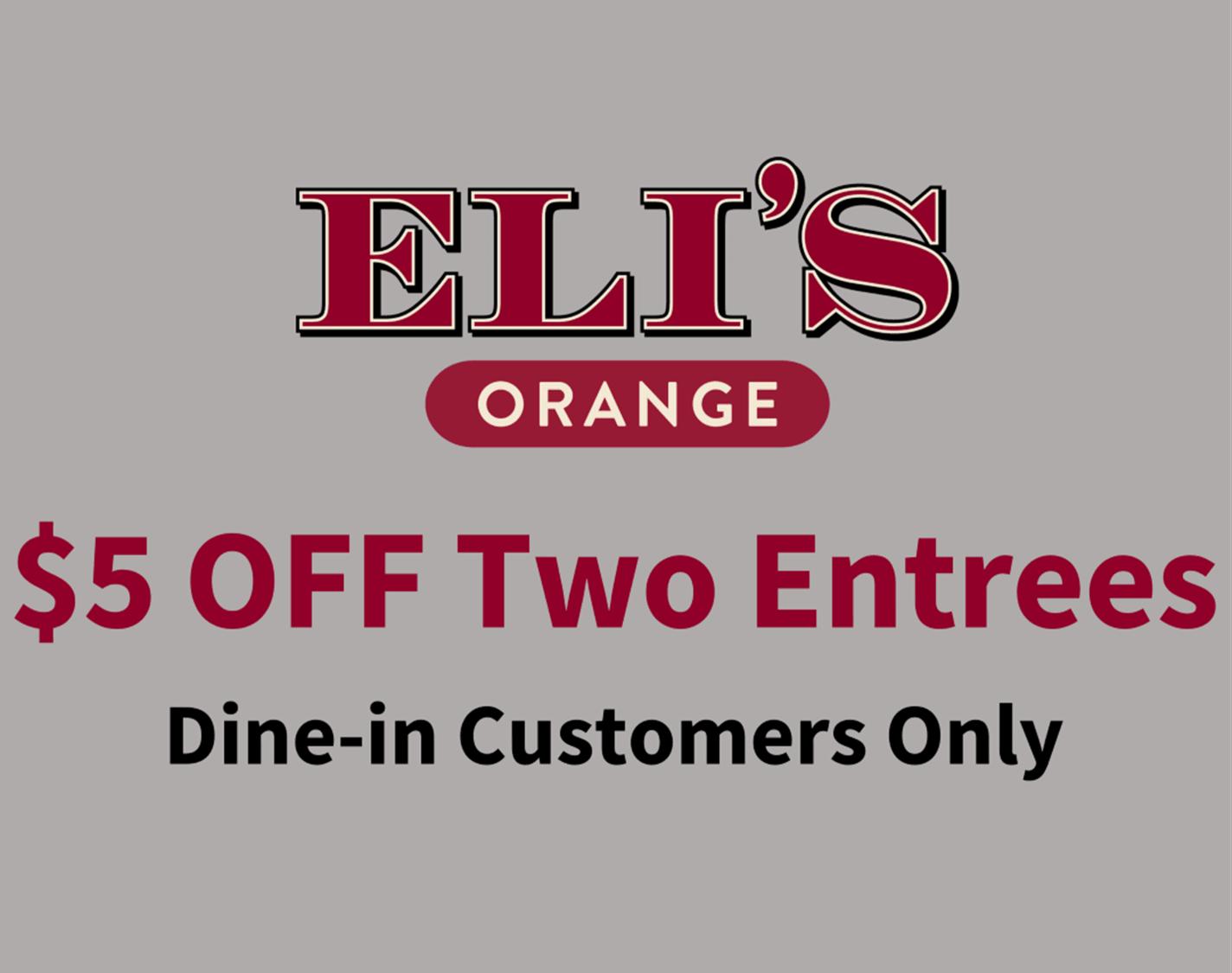 Elis Orange Discount on Entrees