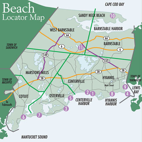 Barnstable Beach Info Map