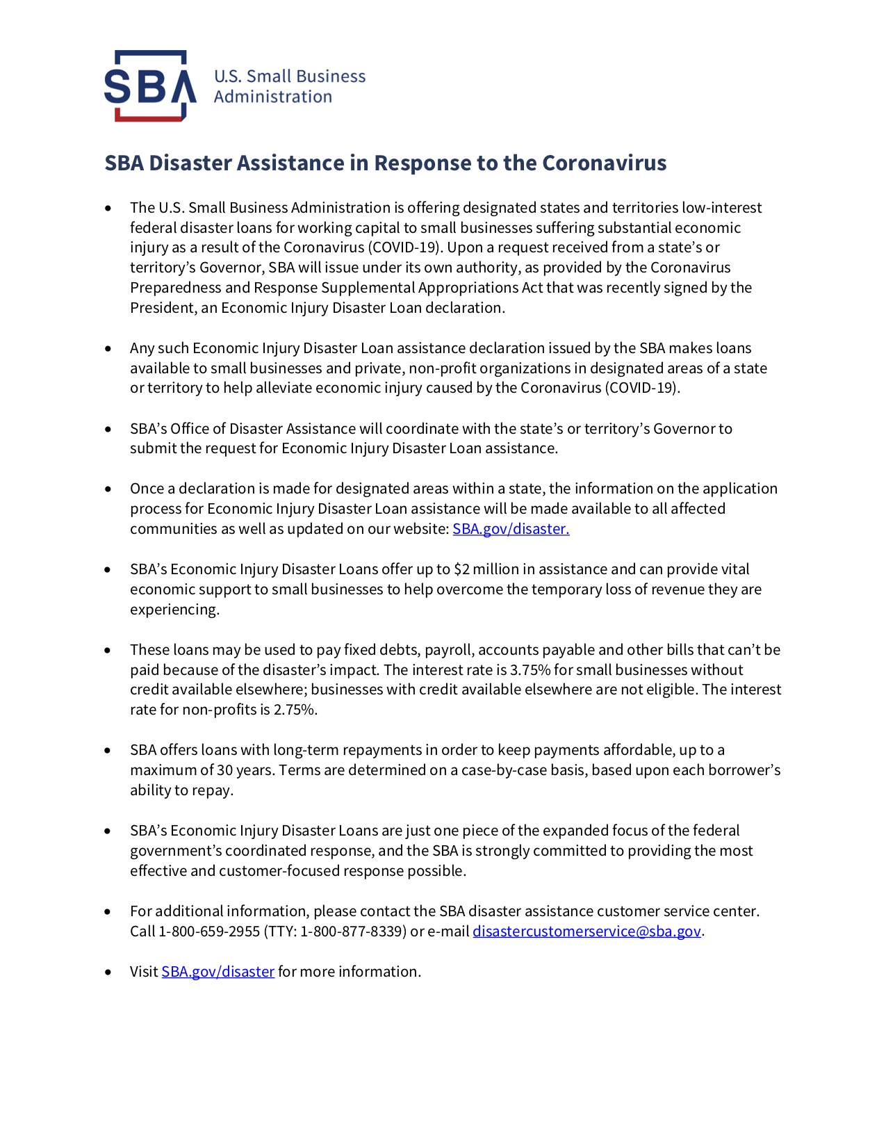 SBA Disaster Assistance Resources for Businesses Handout