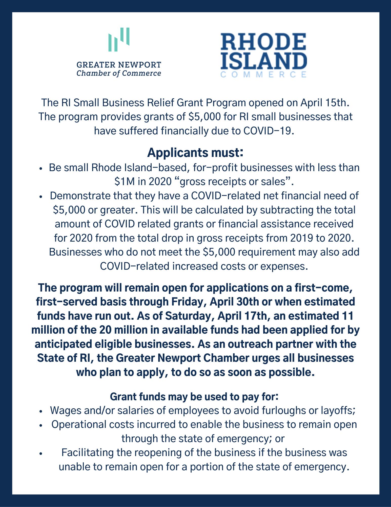 RI Small Business Relief Grant