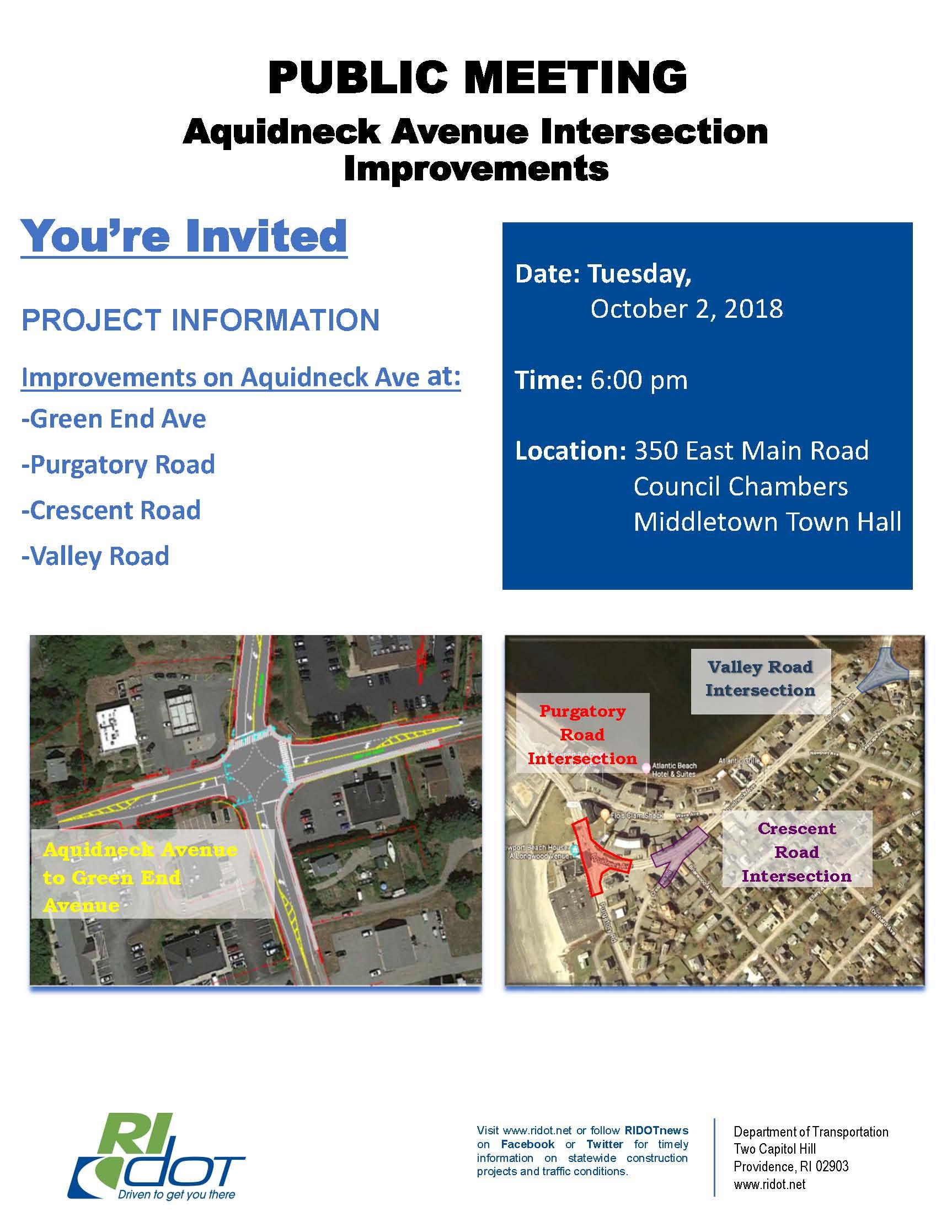 Aquidneck Ave Improvements Public Meeting