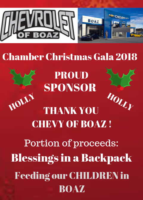 THANKS to our First Sponsor for our 1st Annual Christmas Gala. - CHEVY OF BOAZ!