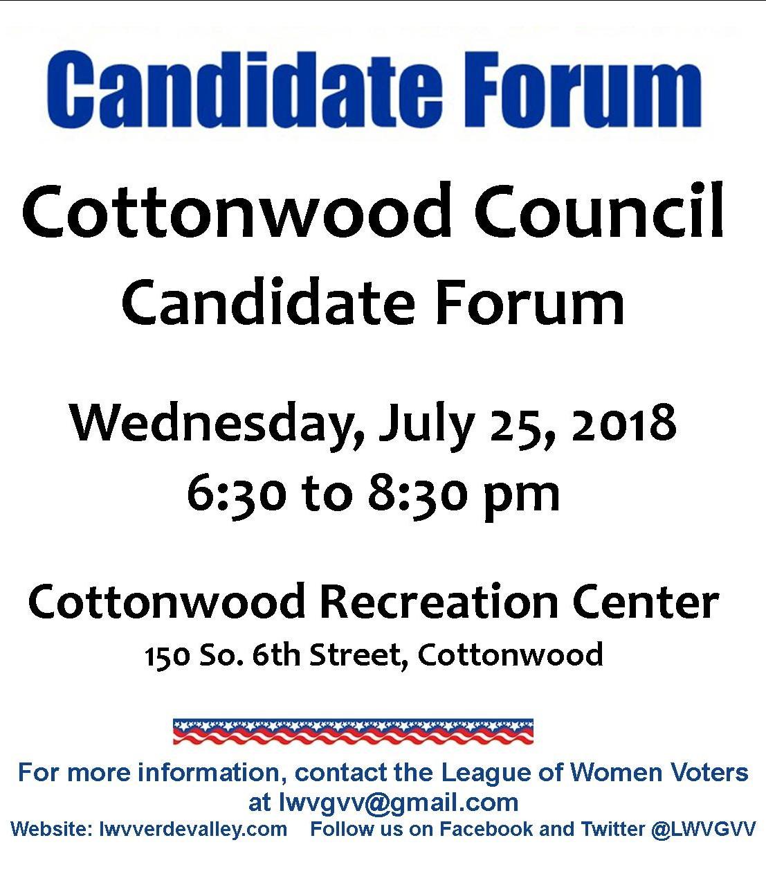 Cottonwood City Council Candidate Forum