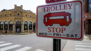 Trolley Stop street sign
