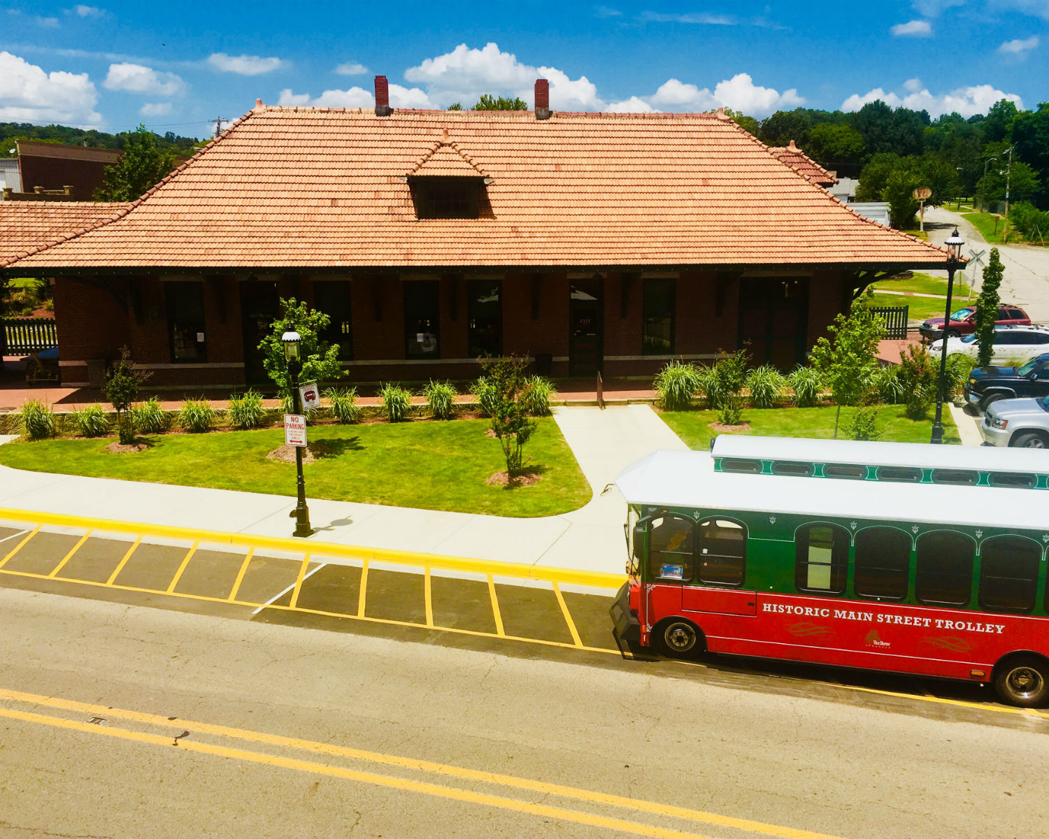 Historic main street Trolley station with trolley on street