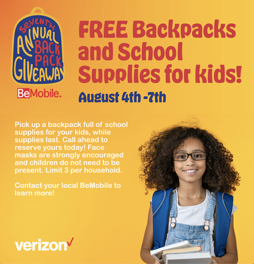 BeMobile Seventh Annual Backpack Giveaway