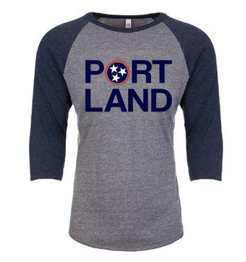 Portland Baseball Tee:  Navy Sleeves