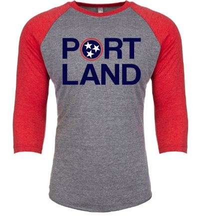 Portland Baseball Tee:  Red Sleeves
