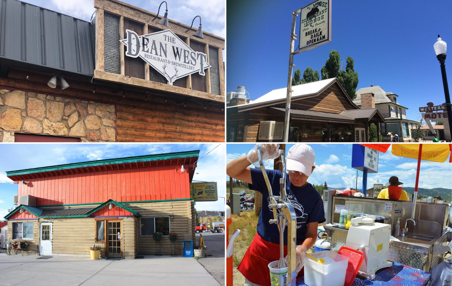4 block image showing the Dean West, Moose Cafe, Los Amigos, and Genie's Weenies are some of the best restaurants and places to eat in Kremmling, CO - Grand County