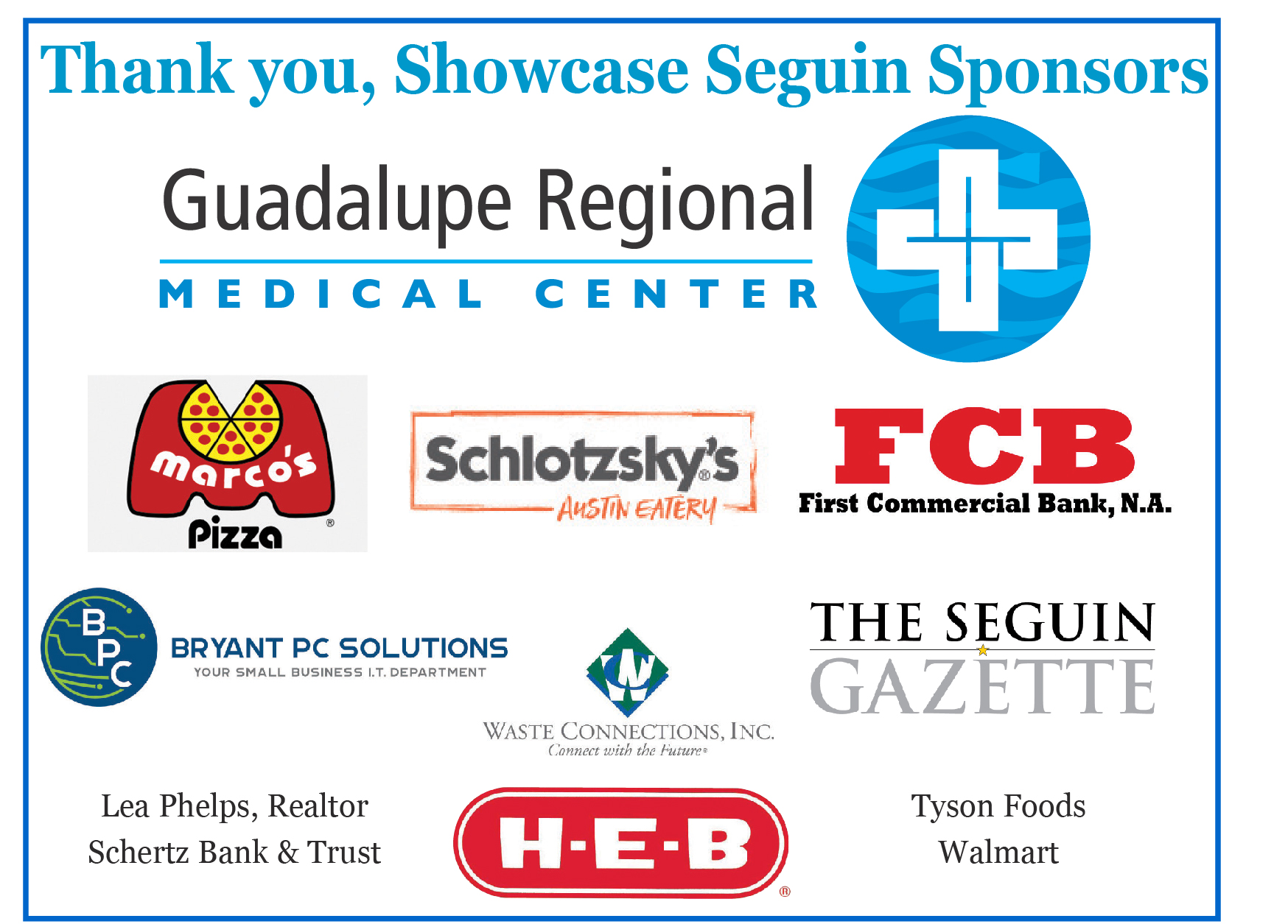 Showcase sponsorships
