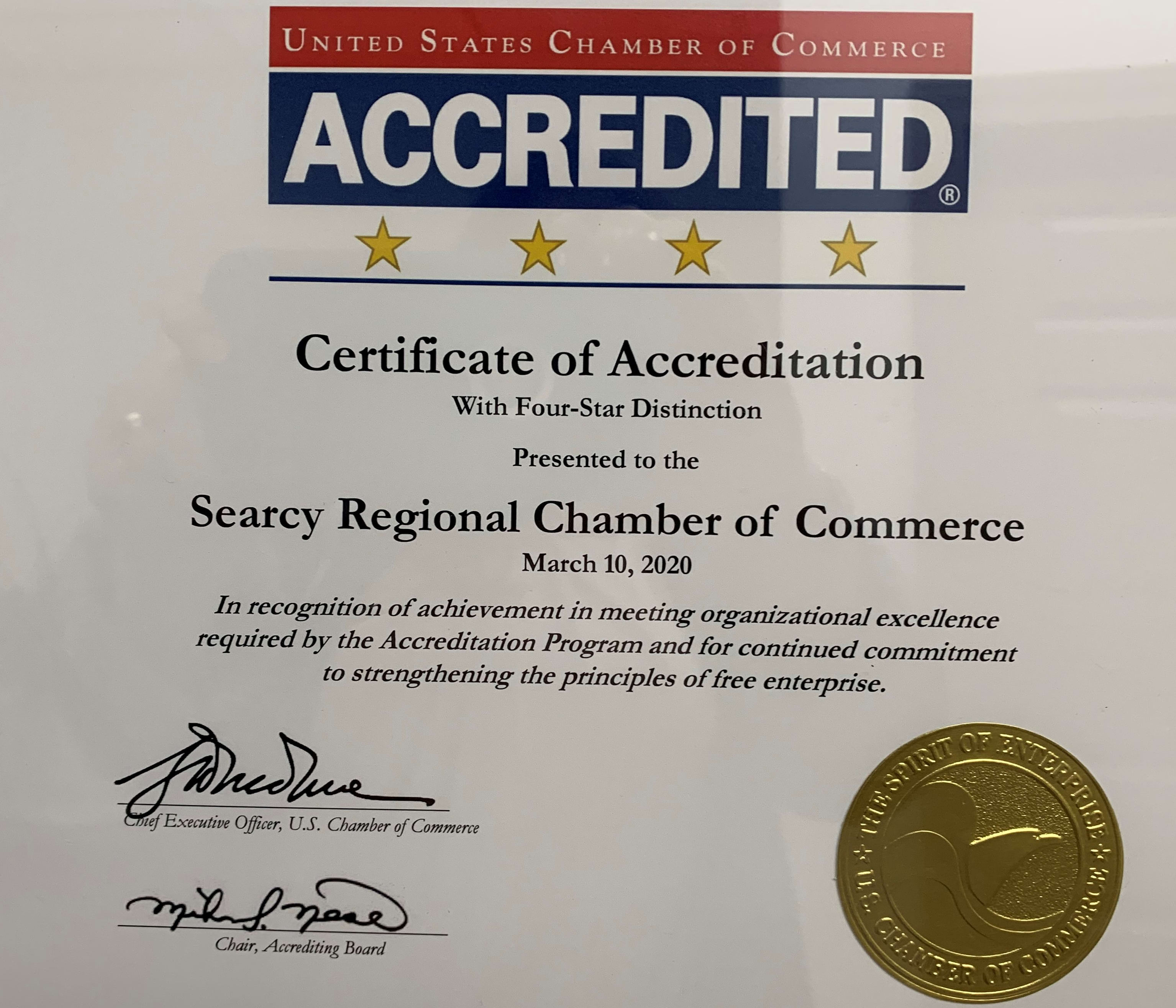 Searcy Regional Chamber of Commerce Achieves Coveted 4-Star Accreditation
