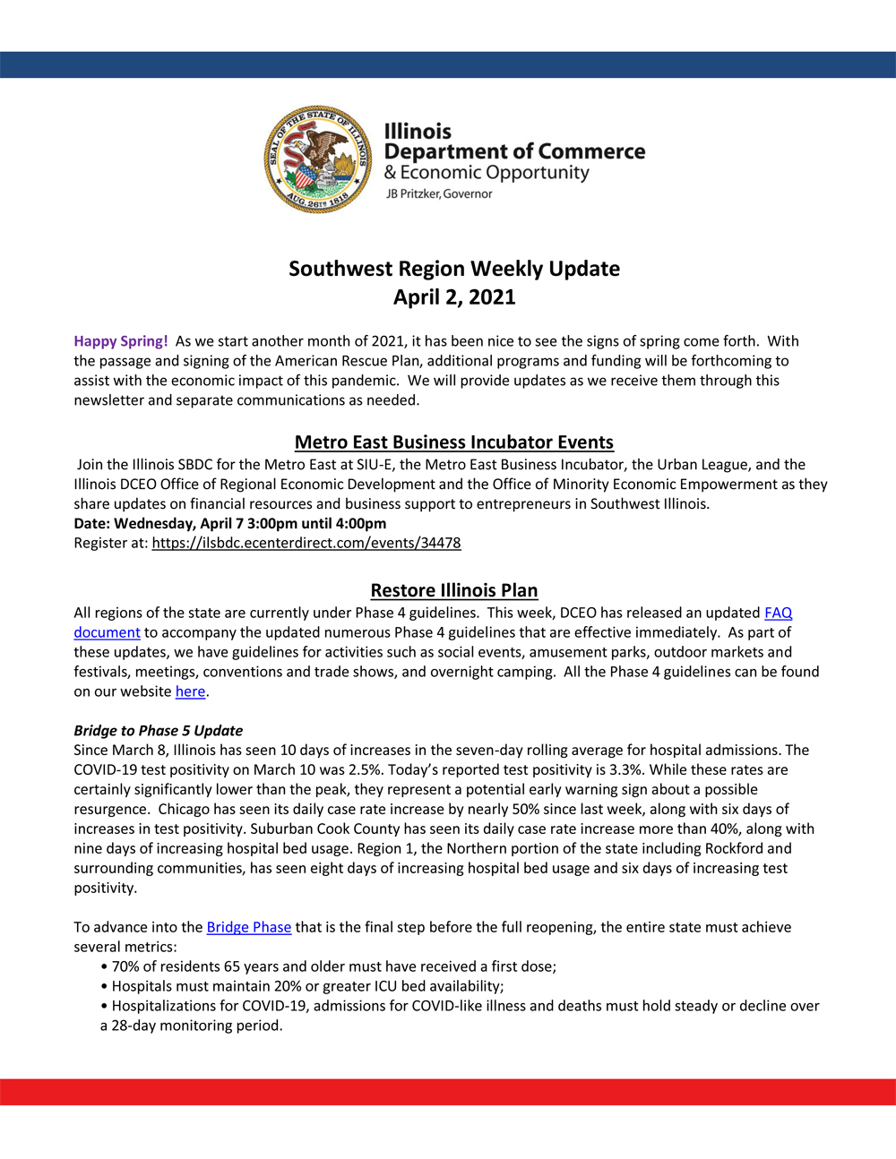IL Department of Commerce SW Regional Weekly Update 4-2-21