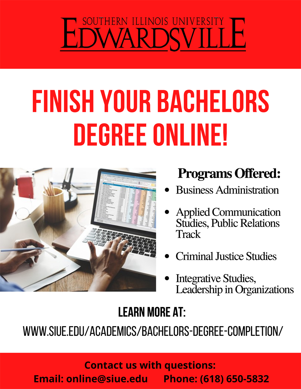 SIUE Online Degree Completion Flyer