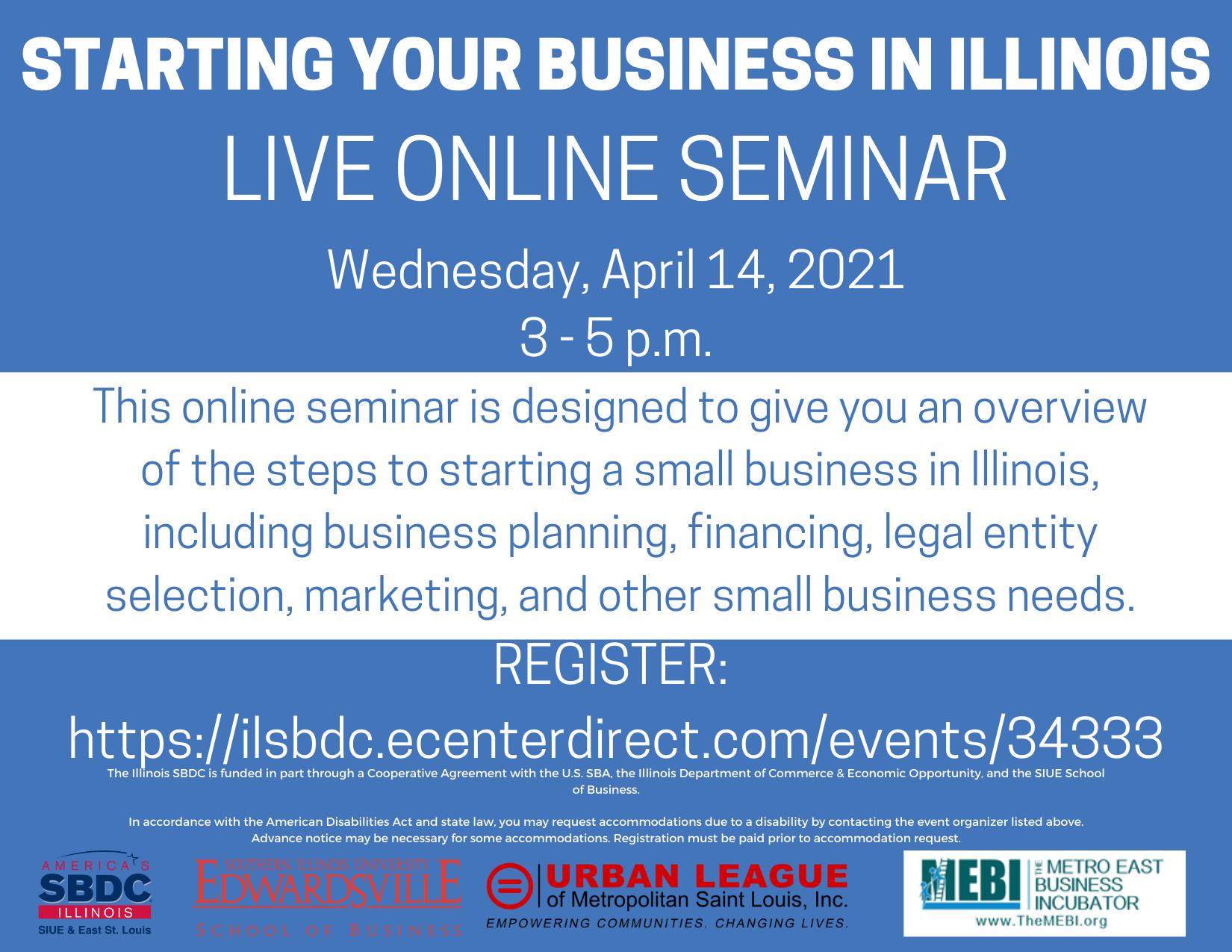 Starting a Small Business in IL  Seminar