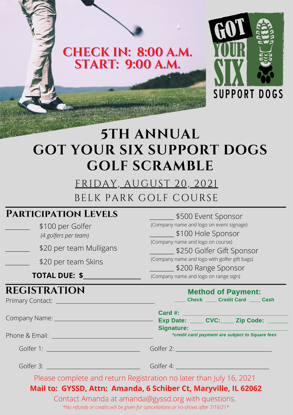 5th Annual Got Your Six Support Dogs Golf Scramble