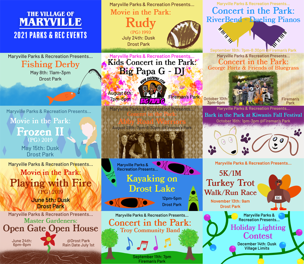 Village of Maryville IL 2021 Parks & Rec Events