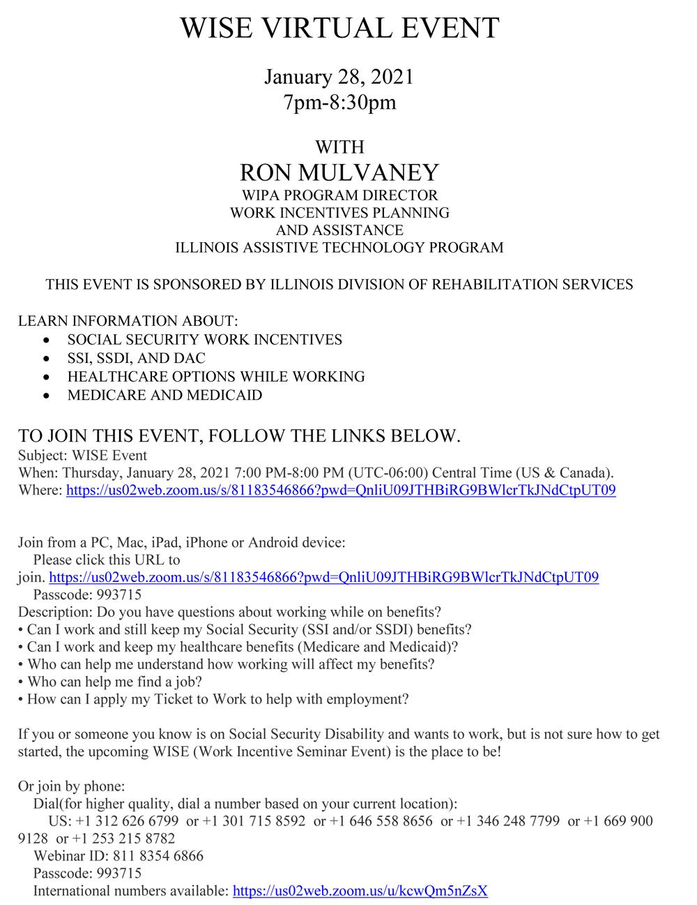 Wise Virtual Event - Work Incentive Seminar Event
