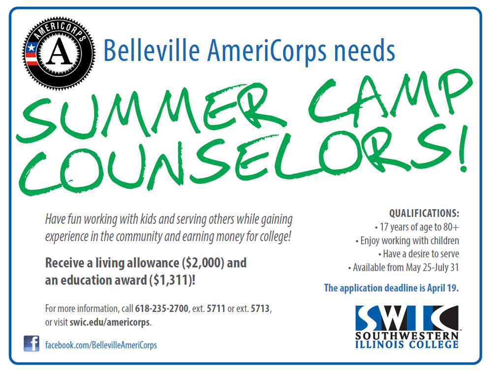 Belleville Americorps Needs: Summer Camp Counselors