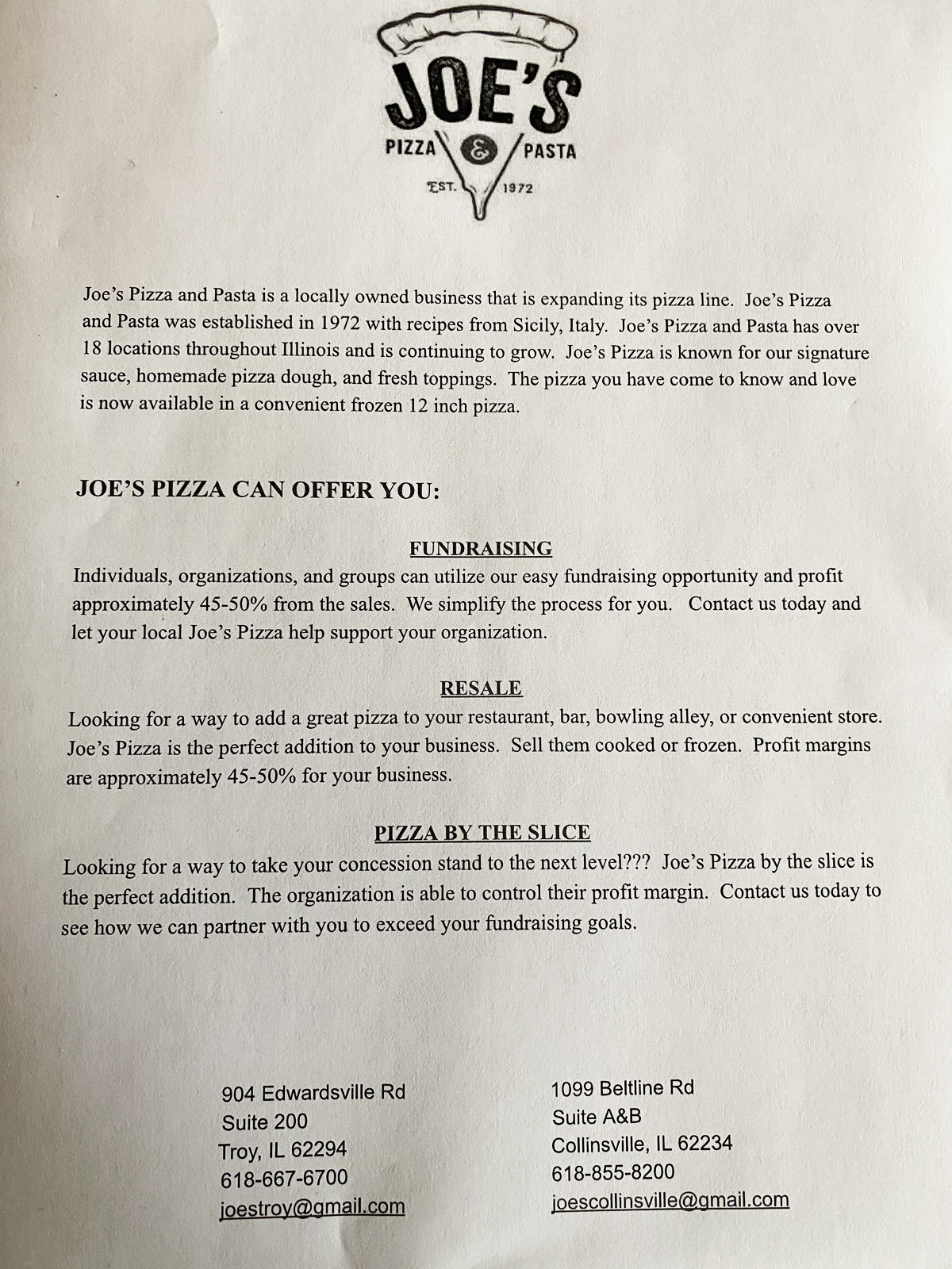 Joe's Pizza Fundraiser Opportunity