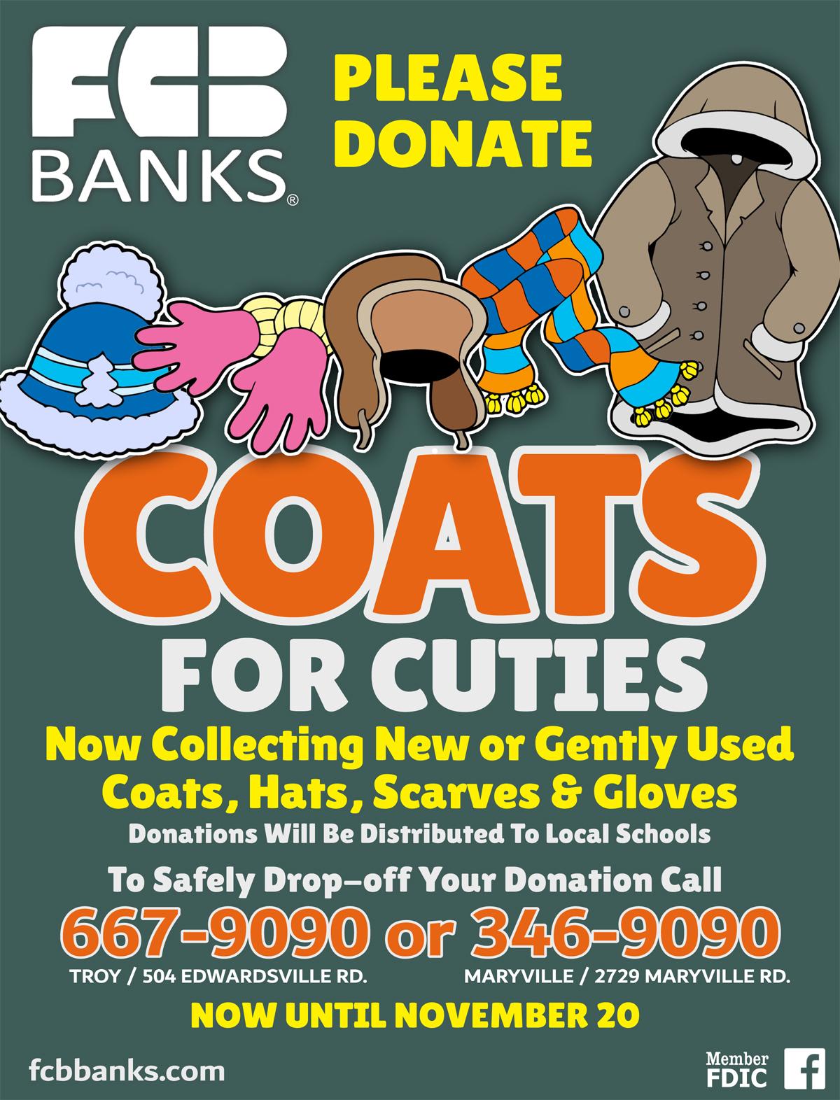 Coats for Cuties Donations at FCB Banks