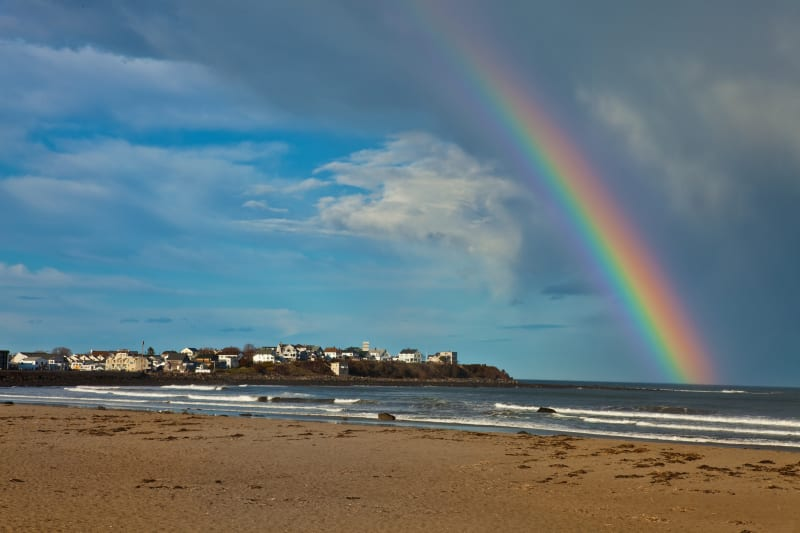Hampton Beach with Rainbow over water