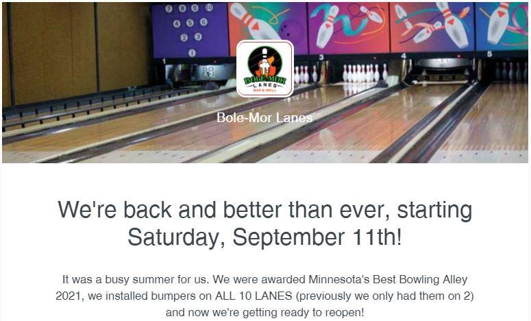 Bole-Mor Lanes Reopening for season