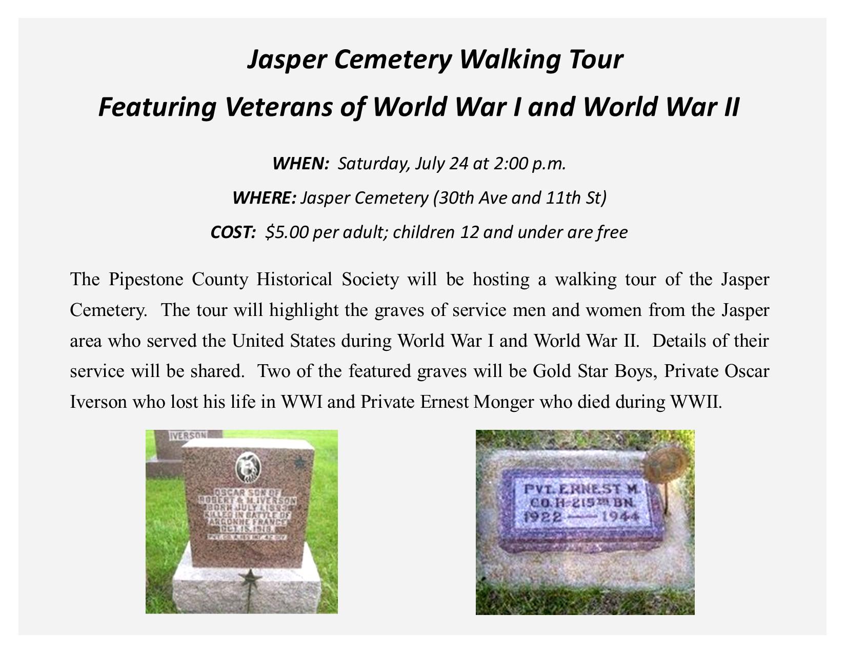 Jasper Cemetery Tour flyer