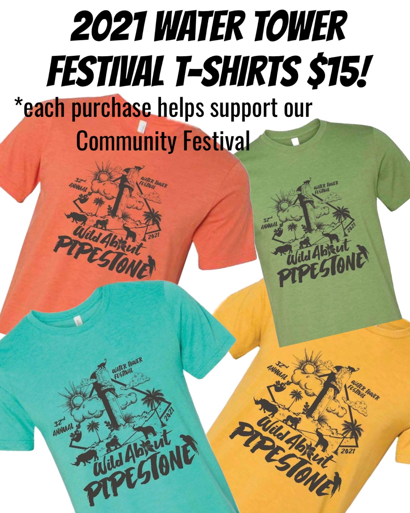 2021 Water Tower Festival Tee Shirts Now Available at SoJo's