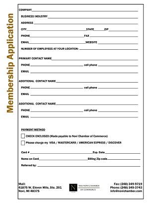 Printable Application | Printable Application Novi Chamber Of Commerce Mi