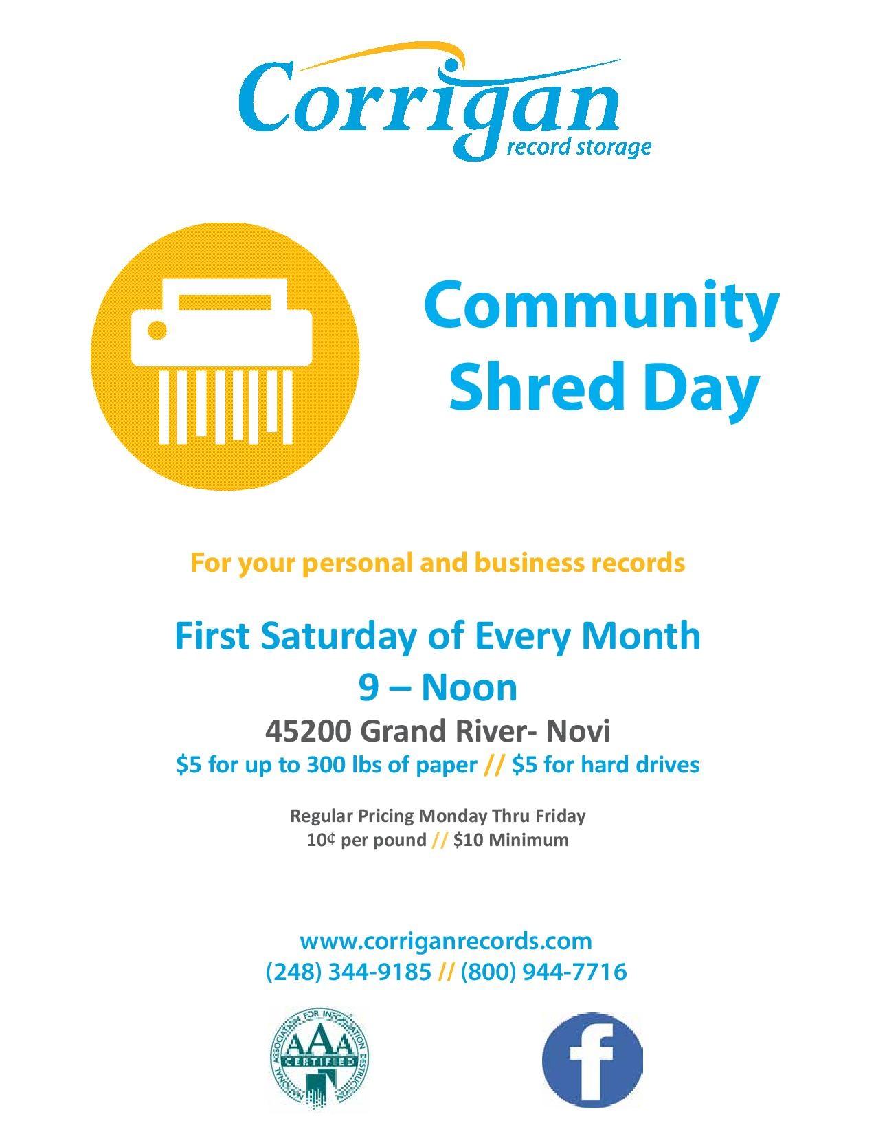 Corrigan Record Community Shred Day - Apr 4, 2020 - Novi Chamber of