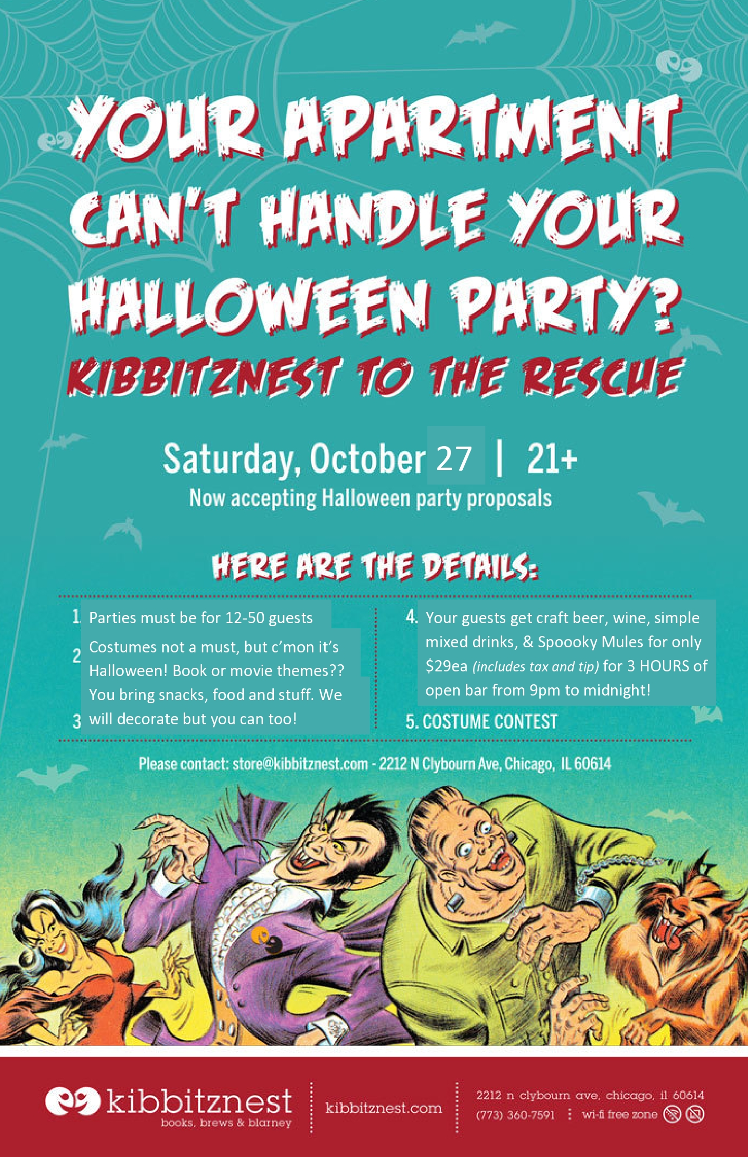 Host Your Halloween Party at Kibbitznest - Lincoln Park