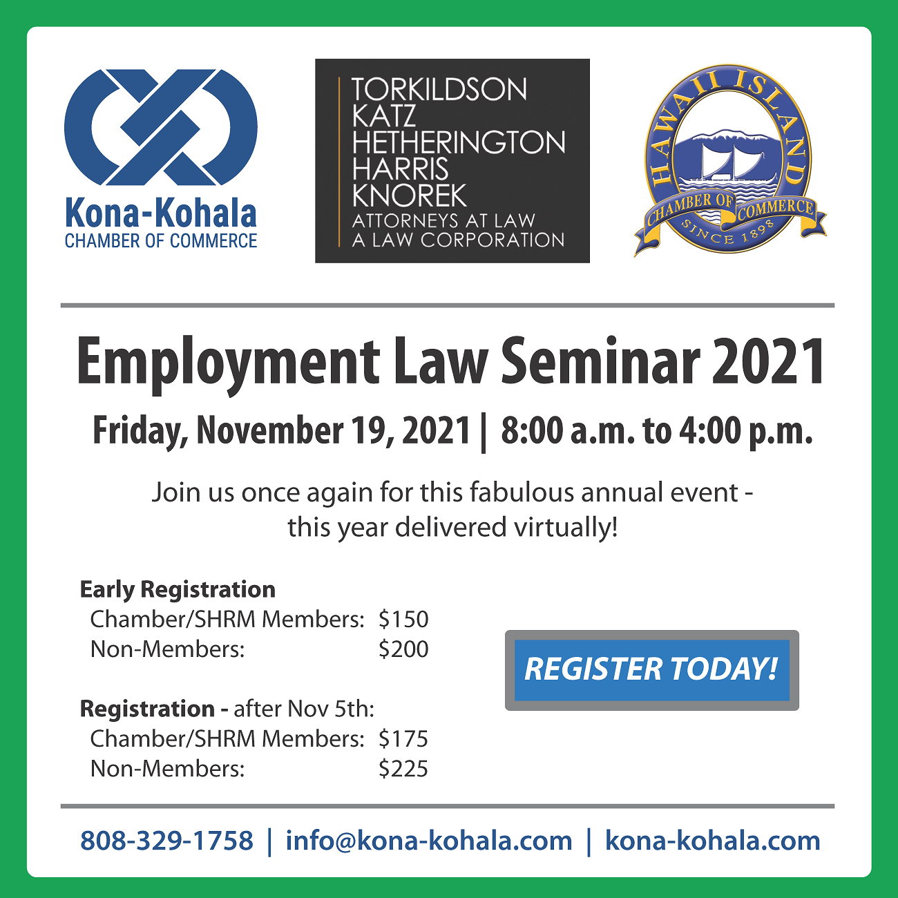 Employment Law Seminar 2021 - Early Registration Open Now