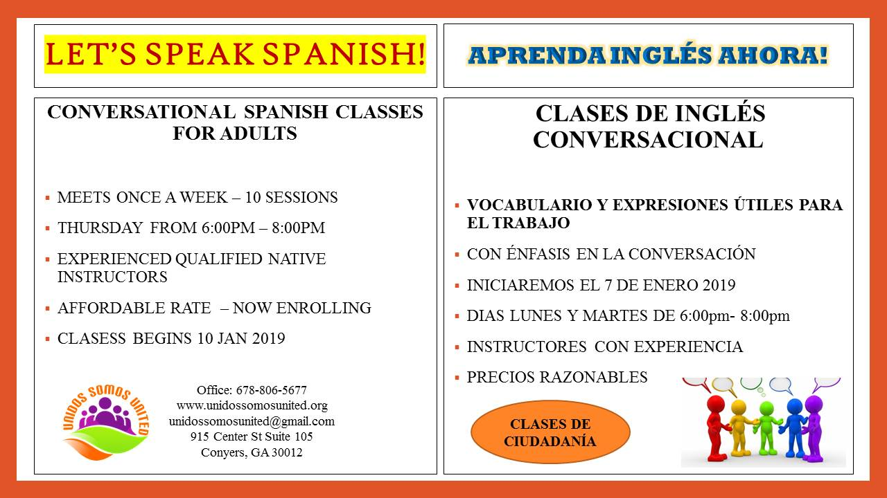 Conversational Spanish/English Classes for Adults