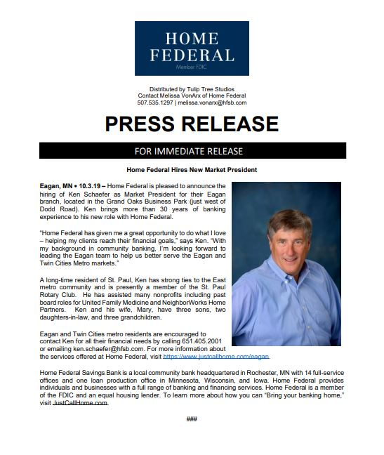 Home Federal Hires Ken Schaefer As New Market President