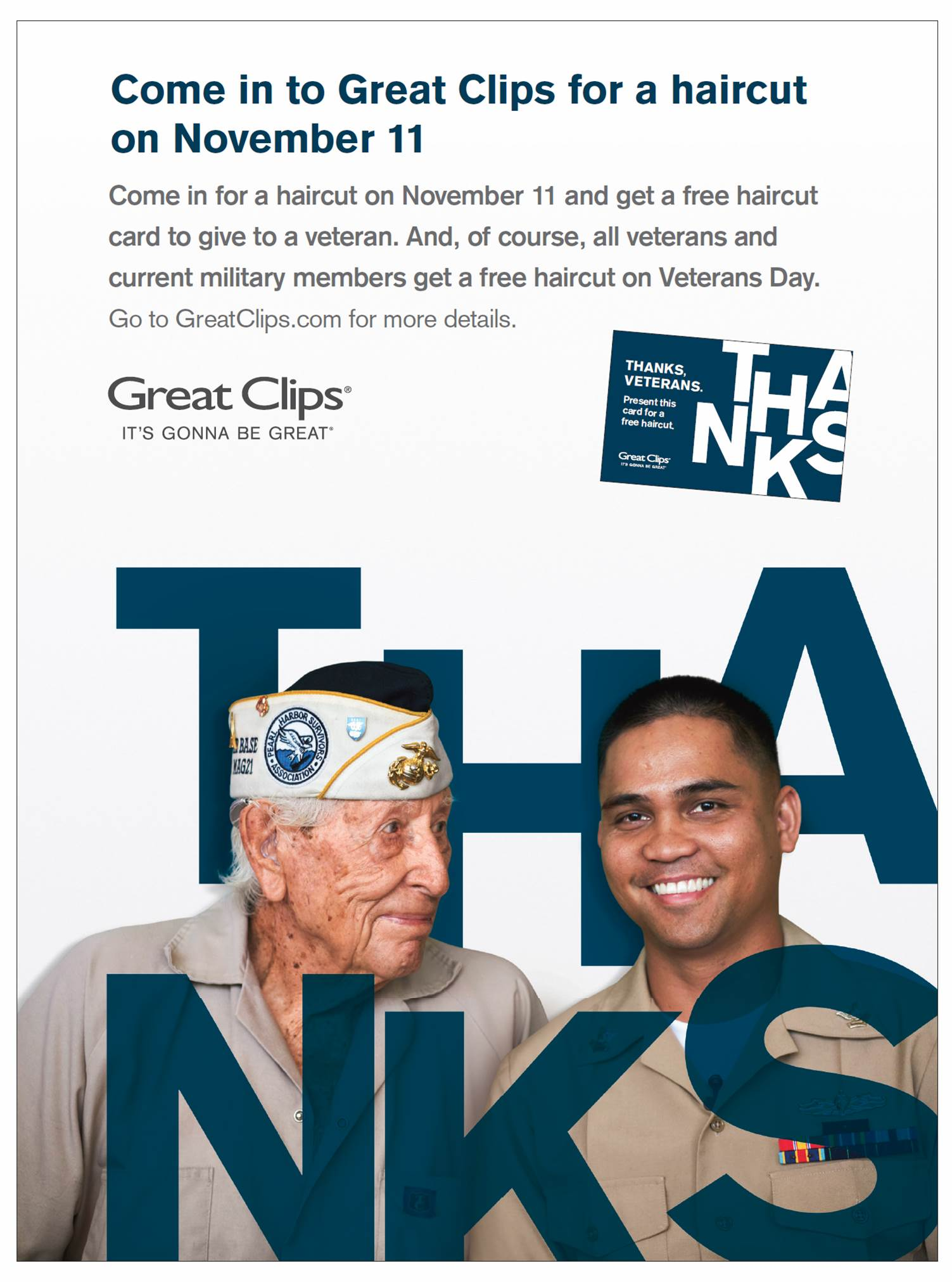 free haircuts for veterans free haircut for veterans nov 11 2016 east peoria 2289 | GreatClips VeteransDay