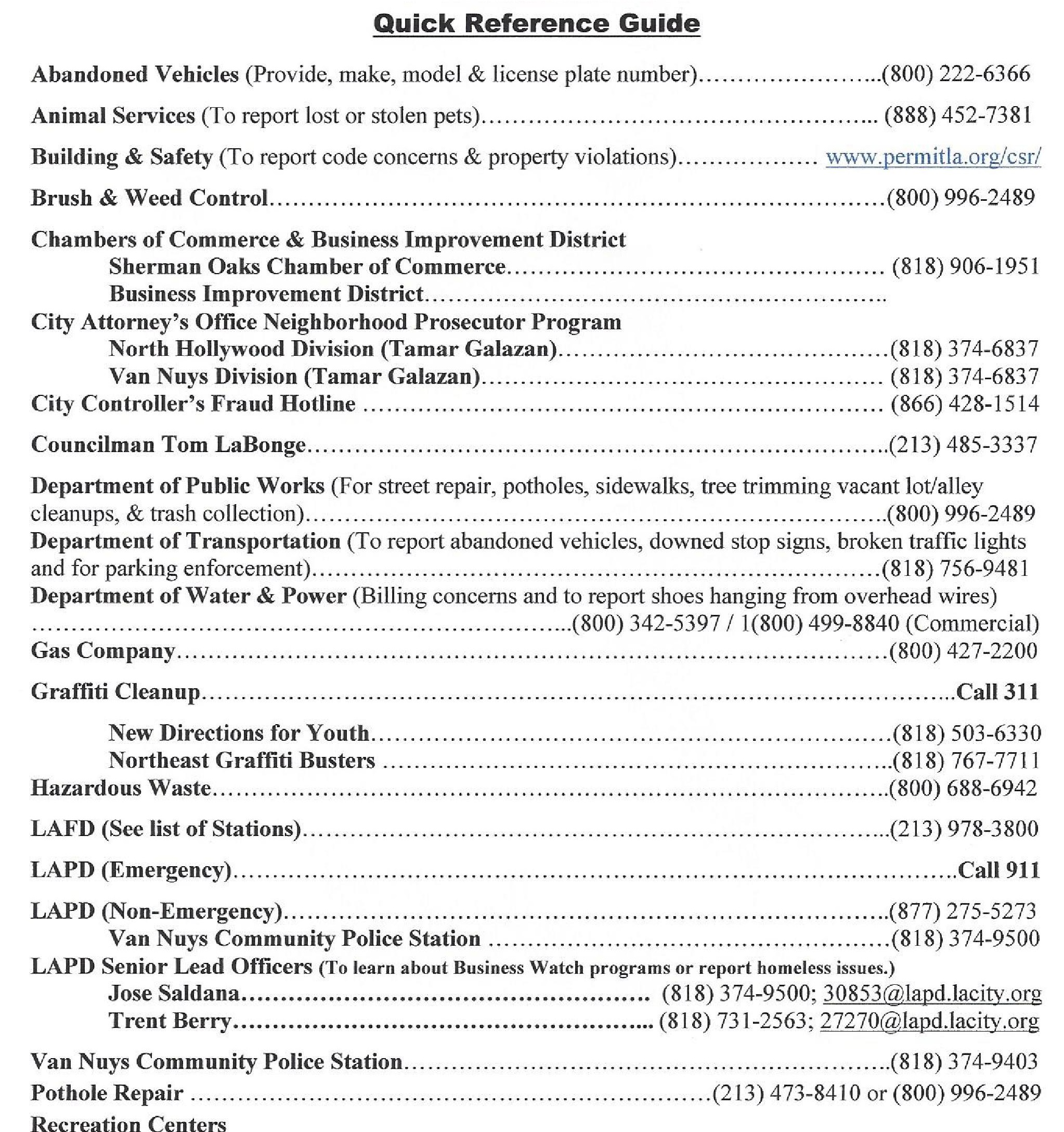 sherman oaks resources, sherman oaks chamber of commerce, organizations, community organizations, sherman oaks phone numbers, helpful numbers