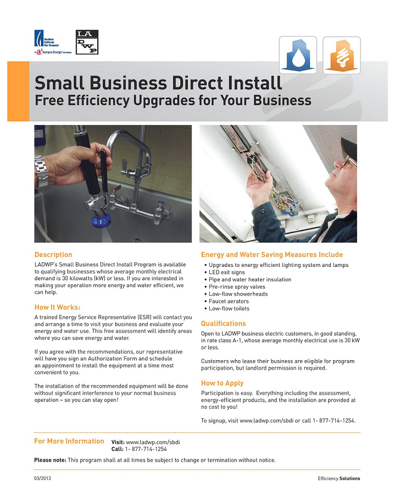 los angeles department of water and power, small business direct install, free energy efficiency upgrades, small business upgrades, la businesssource, icon cdc, help, sherman oaks