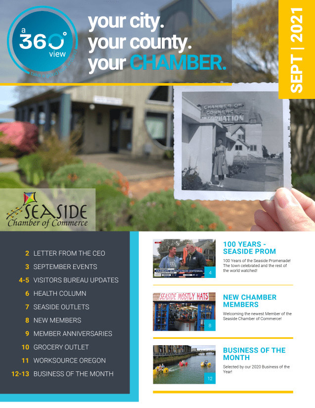 September, Newsletter, 2021, your city. your county. your chamber, chamber of commerce, seaside, Oregon, news, local