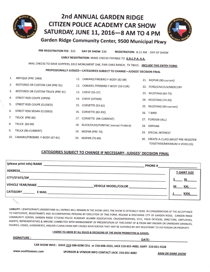 Garden Ridge Citizen Police Academy Alumni Association Open Car Show Jun 11 2016 Events