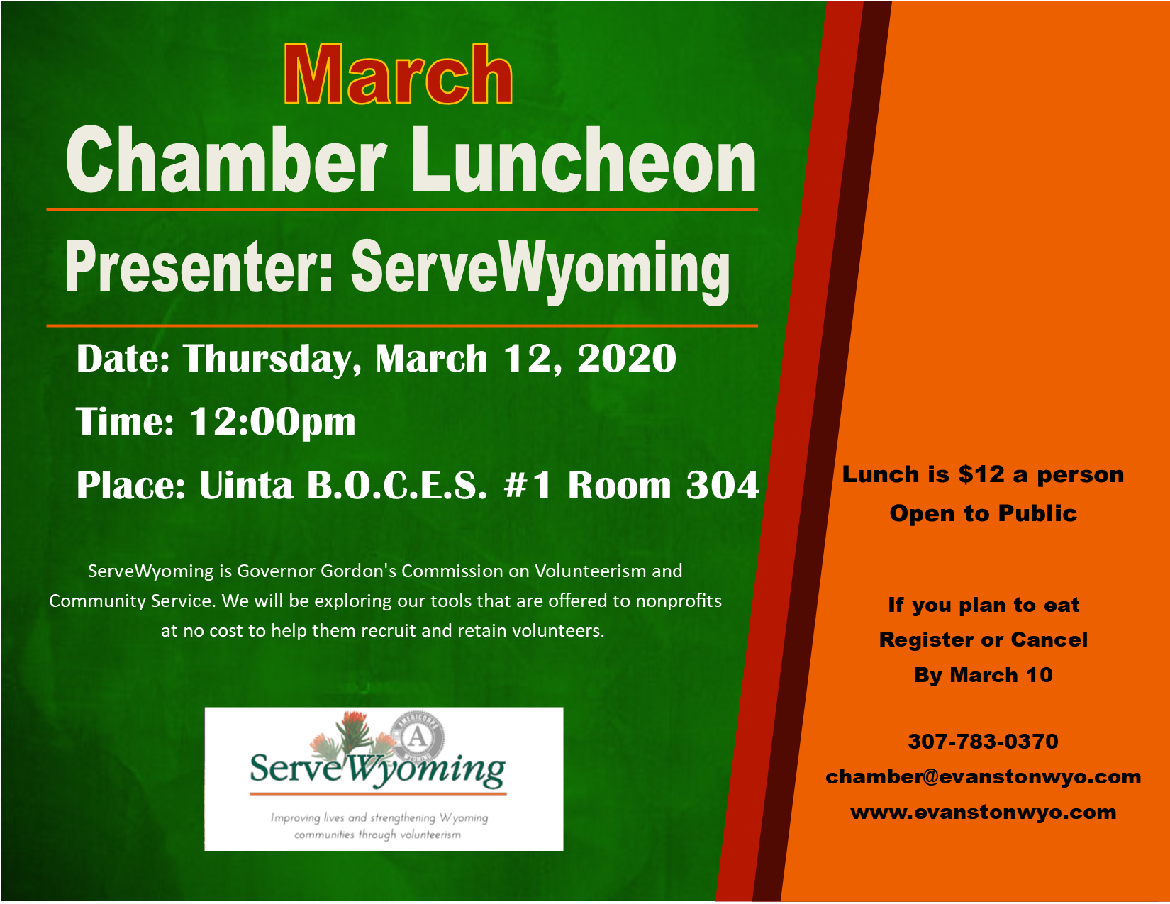 Luncheon, Chamber of Commerce, ServeWyoming,