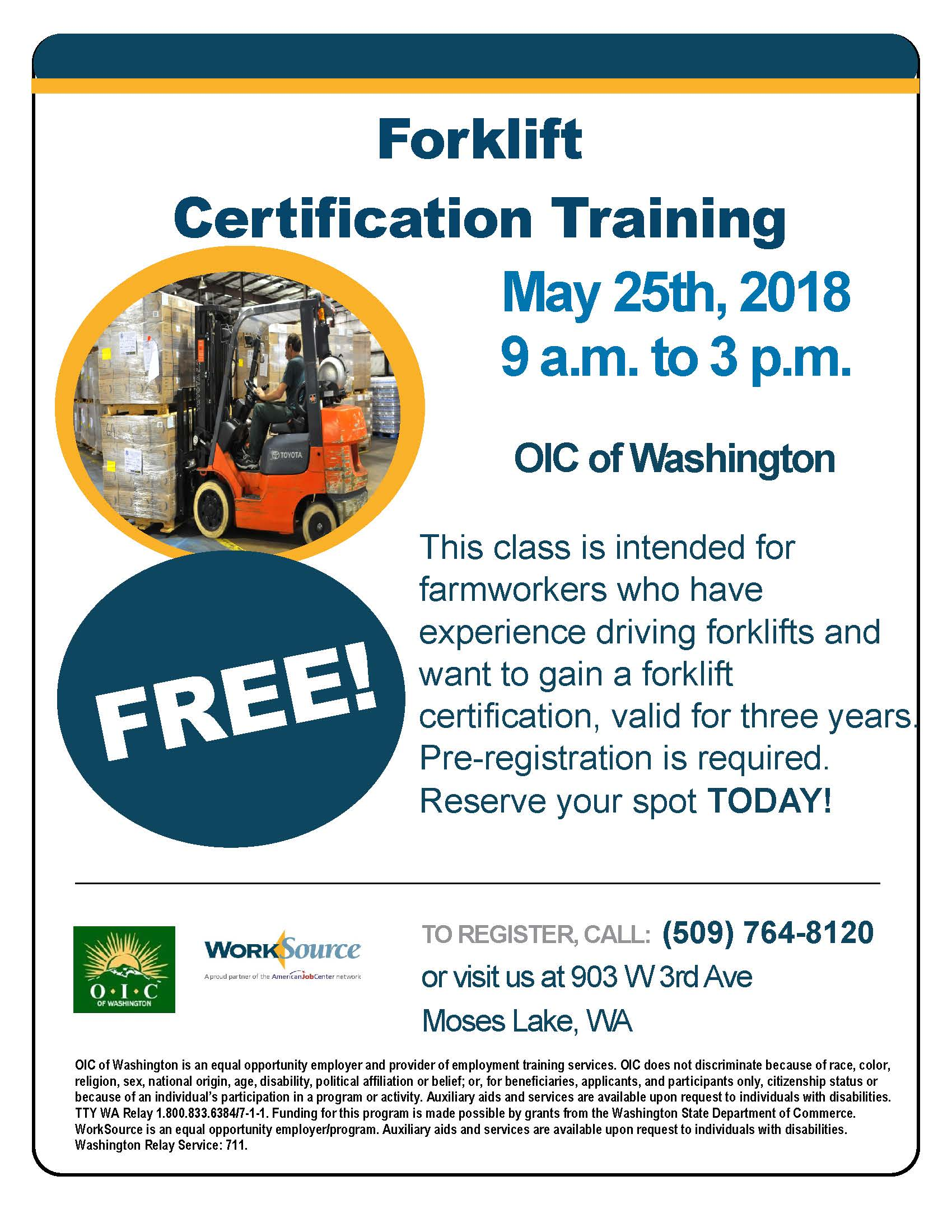 Forklift Certification Training May 25 2018