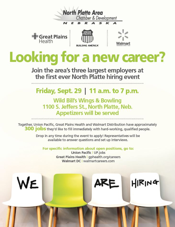 Hiring Event, Jobs, Careers, Union Pacific, Walmart DC, Great Plains Health, #NPHires