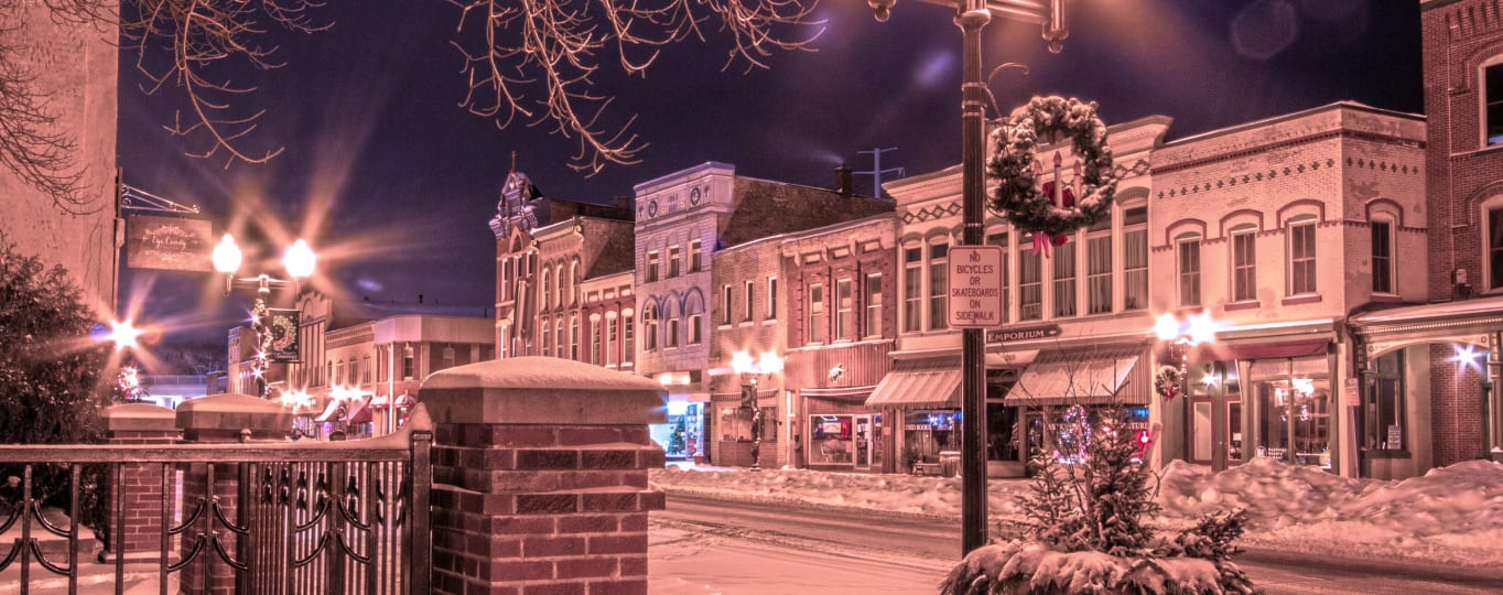 Hastings Historic Downtown in Winter