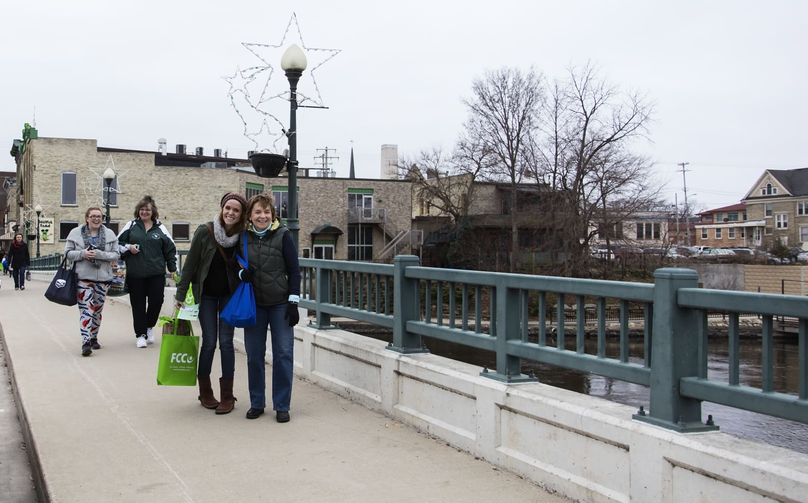 main street shoppers in downtown fort atkinson